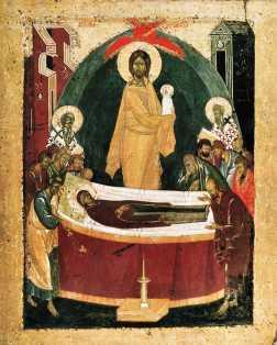 Икона-Б.М.-Донская-оборотная-сторона-Успение-Богоматери-1392
