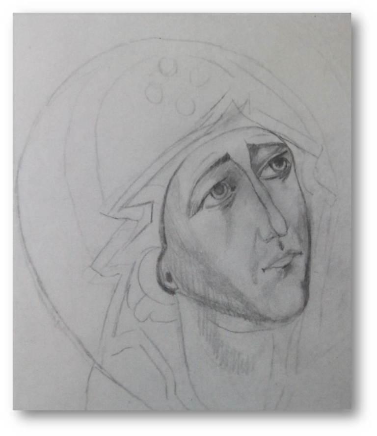 Maica Domnului gravura Sofronie essex